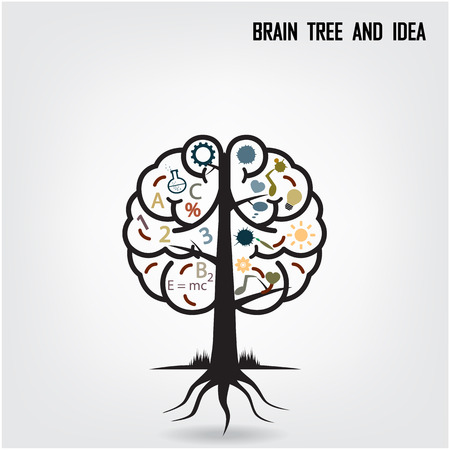 Brain tree illustration, tree of knowledge Vector