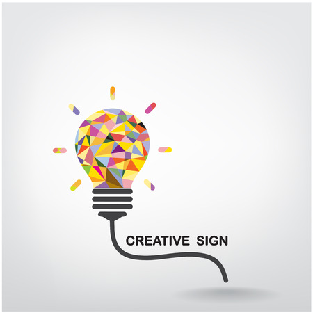 mente: Luz creativa concepto Bulbo de la idea de dise�o de fondo Vectores