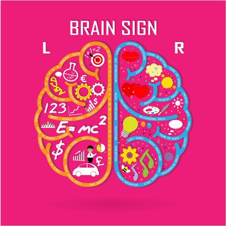 Creative left and right brain Idea concept background design