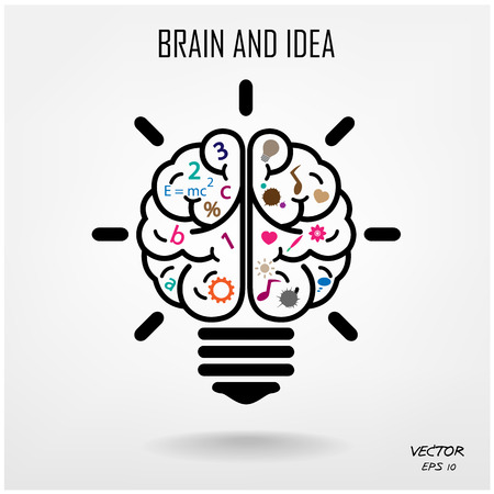conceptual bulb: Creative brain Idea concept background design