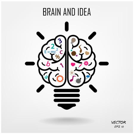 Kreative Gehirn Idee-Konzept-Hintergrund-Design Illustration