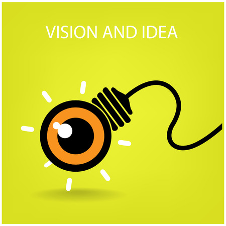 vision and ideas sign,eye icon,light bulb symbol ,business concept vector illustration Çizim