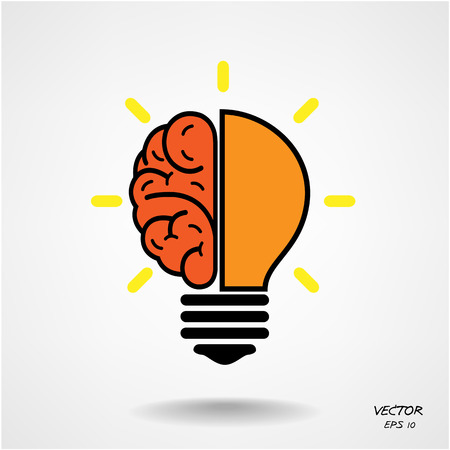 left right: Creative brain Idea concept background design