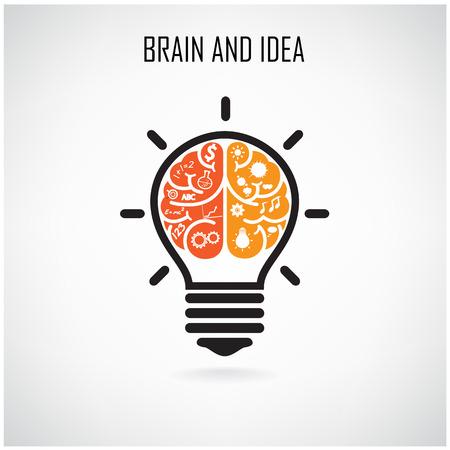 創造的な脳のアイデア コンセプト デザイン ポスター チラシ カバー パンフレット、ビジネス dea、抽象的な background.vector の図