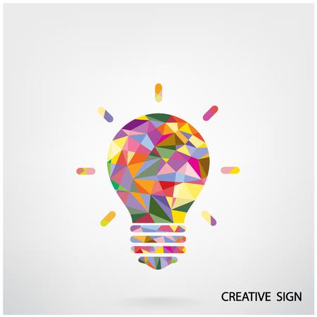 カラフルな創造的な電球アイデア コンセプト ポスター チラシ カバー パンフレット、ビジネス アイデア、抽象的な背景背景デザイン。  イラスト・ベクター素材