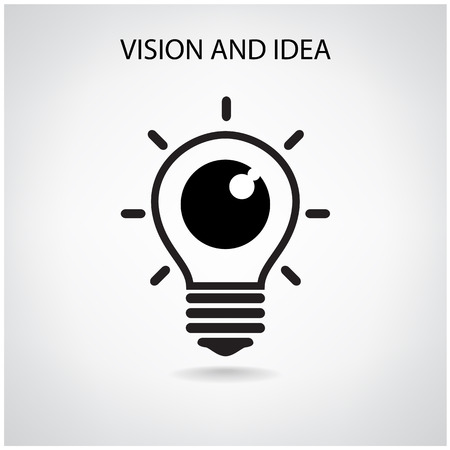 future vision: vision and ideas sign,eye icon,light bulb symbol ,business concept.