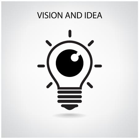 Vision et des idées signe, icône de l'?il, symbole de l'ampoule, concept d'entreprise. Banque d'images - 25467640