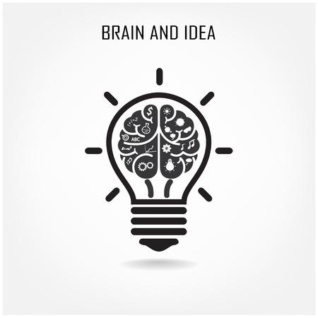 Creative brain Idea concept background design for poster flyer cover brochure  Vector