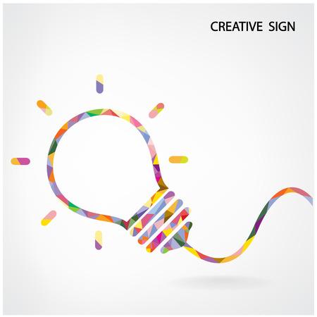 創造的な電球ポスター フライヤー カバー パンフレットのアイデア コンセプト背景デザイン