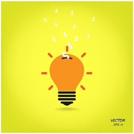 creative light bulb,saving sign,ideas concepts Vector