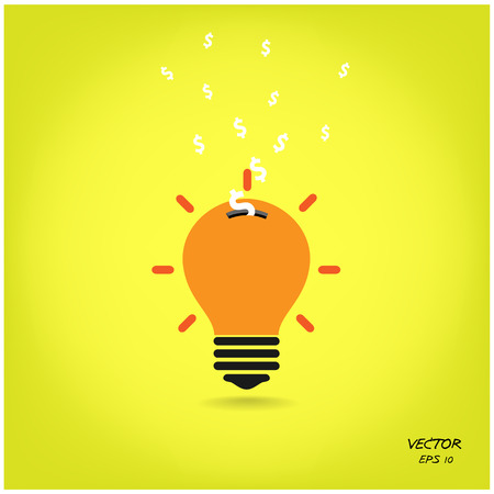 power saving lamp: creative light bulb,saving sign,ideas concepts Illustration