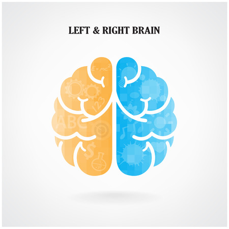 creative thinking: Creative left brain and right brain Idea concept background