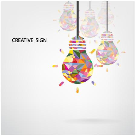 포스터 전단지 커버 안내 책자에 대 한 창조적 인 전구 아이디어 개념 배경 디자인
