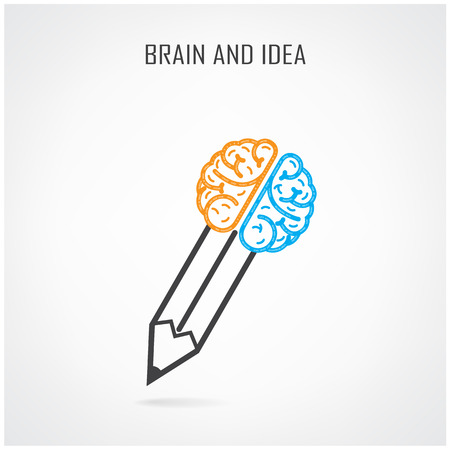 Creative right and left brain and pencil symbol. Vector