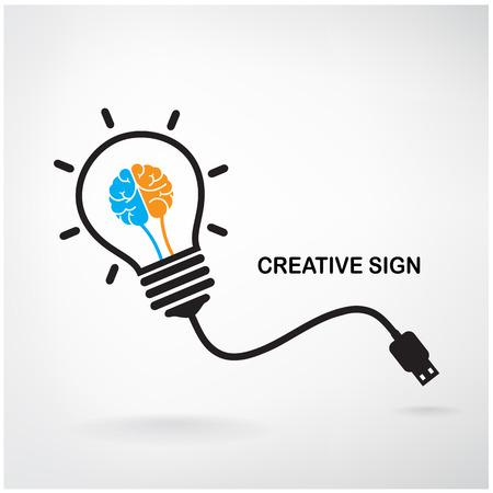 inteligencia: Dise�o de fondo del concepto de la bombilla Idea Creativa para el folleto con cubierta aviador cartel Vectores