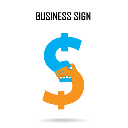 Handshake abstract sign vector design template. Business creative concept Illustration