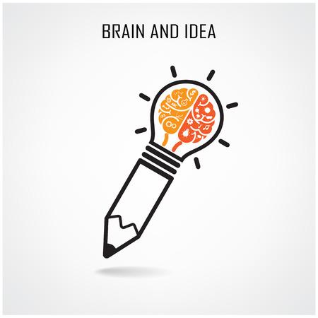 tužka: Kreativní mozek nápad pojmu pozadí design pro plakát flyer obal brožury, obchodní DEA, abstraktní background.vector ilustrace Ilustrace