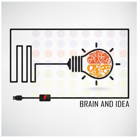 Creatieve brein Idee concept achtergrond ontwerp voor poster flyer omslag brochure, bedrijf dea, abstracte achtergrond.Vectorillustratie Stock Illustratie