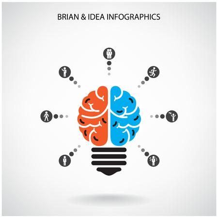 cerebro: Diseño de fondo del concepto de la idea del cerebro creativo para folleto cubierta aviador cartel, dea de negocios, fondo abstracto ilustración vectorial Vectores