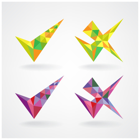 geometric confirm and rejected icons vector illustration  Vector