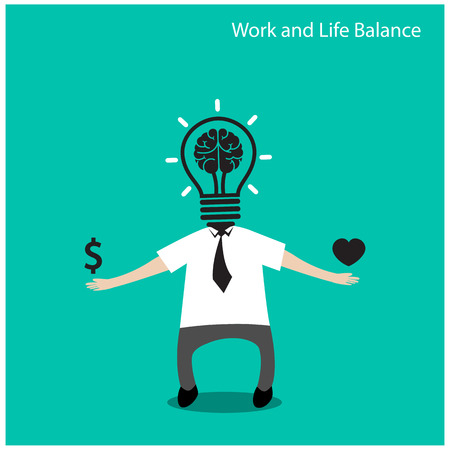 work life balance: Work and life balance concept,businessman icon,business concept,cartoon concept.vector illustration Illustration