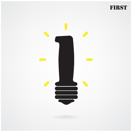 number one silhouette light bulb symbol   first sign  illustration contains gradient mesh Vector