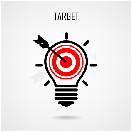knowledge clipart: Creative light bulb and target concept design for poster flyer cover brochure ,business idea ,abstract background contains gradient mesh