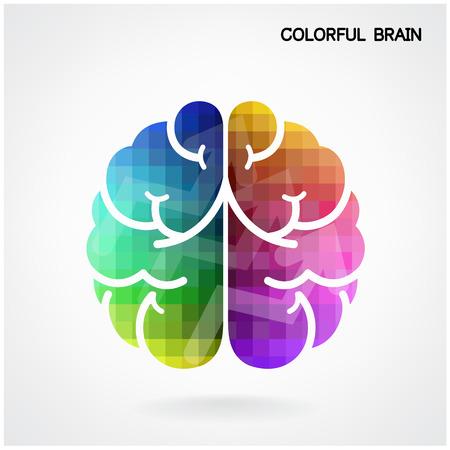 left: Creative colorful left brain and right brain Idea concept background