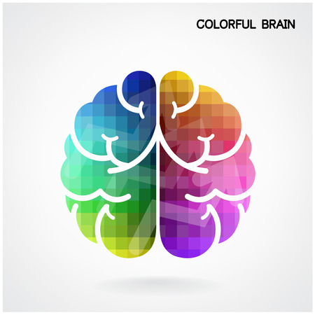 Kreative bunte linke Gehirnhälfte und rechte Gehirnhälfte Idee-Konzept-Hintergrund Vektorgrafik