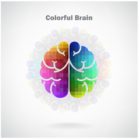 Creative colorful left and right brain Idea concept background .vector illustration contains gradient mesh Vector