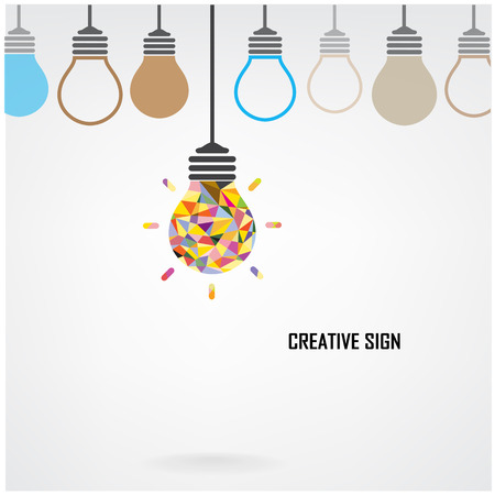 Creative light bulb Idea concept background design for poster flyer cover brochure, business idea, abstract background.