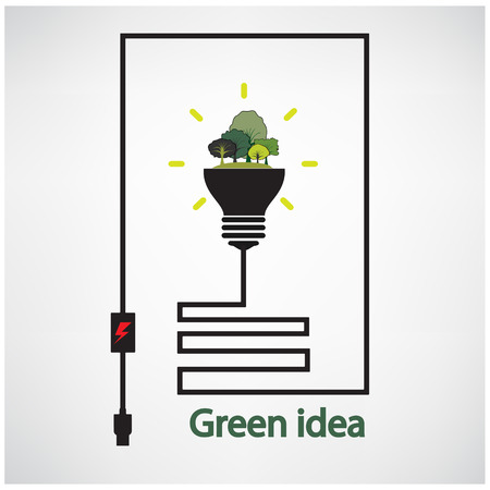 germinating: trees and green light bulb on background,green concepts ,vector illustration contains gradient mesh Illustration