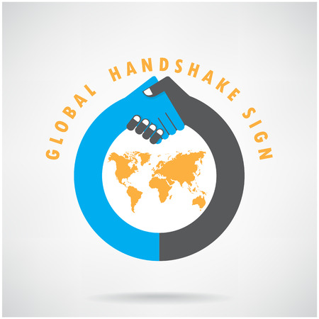global partnership: Handshake abstract sign vector design template  Business creative concept vector illustration contains gradient mesh