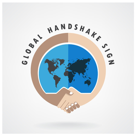 global trade: Handshake abstract sign vector design template  Business creative concept vector illustration contains gradient mesh