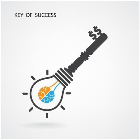 Creative light bulb Idea concept,key of success .vector illustration contains gradient mesh