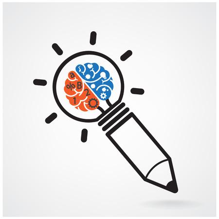 pensamiento creativo: Diseño de fondo del concepto de la idea del cerebro creativo para folleto cubierta aviador cartel, dea negocio, extracto background.vector ilustración contiene el gradiente de malla Vectores