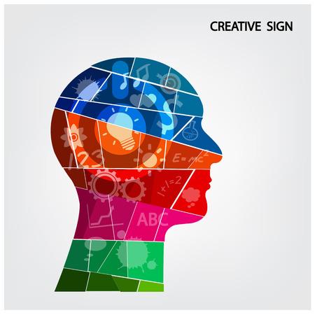 Silhouette design créatif tête de fond pour la couverture brochure affiche flyer, idea.vector d'affaires illustration contient filet de dégradé Banque d'images - 28036948