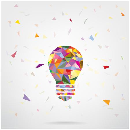 創造的な電球考え概念背景デザイン ポスター チラシ カバー パンフレット、ビジネスのアイデアを抽象的な background.vector の図を含むグラデーション