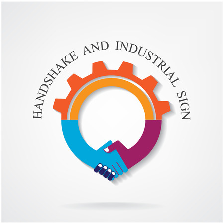 Creative handshake sign and industrial idea concept background design for poster flyer cover brochure ,business idea ,industrial sign,abstract background.vector illustration contains gradient mesh. Vector