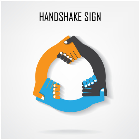 Handshake abstract sign vector design template. Business creative concept.vector illustration contains gradient mesh. Vector