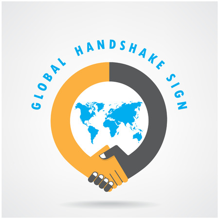 partnership: Handshake abstract sign vector design template. Business creative concept. Illustration