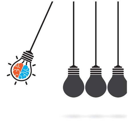 Newtons cradle concept on background,creative light bulb Idea concept,business idea ,abstract background.vector illustration  Vector