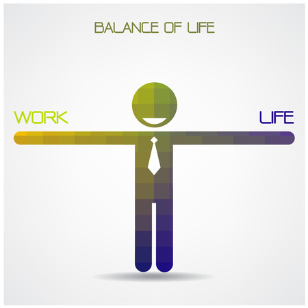 equal opportunity: Balance scale between work and life idea,work and life balance concept, work-life balance,geometric businessman sign,business ideas.vector illustration