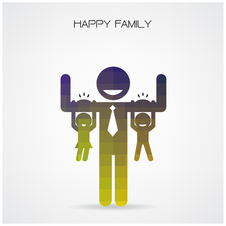 father s day: happy family having fun,daughter and son hang on daddy s arms,father s day concept,happy father s day background.vector illustration Illustration