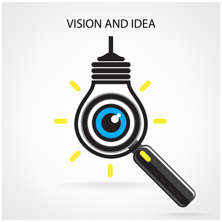 vision and ideas sign,eye icon,light bulb symbol ,search symbol,business concept.vector illustration  Vector