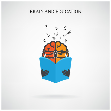 creative brain sign and book symbol on background Vector