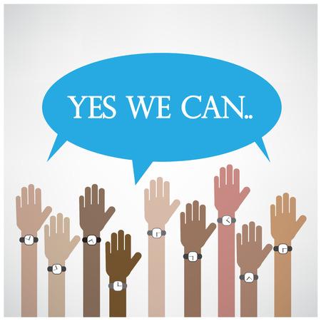 altogether: empresario manos con la burbuja del discurso Yes we can concepto