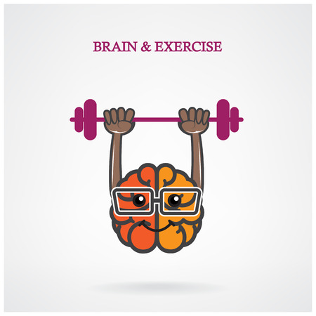 Creative left and right brain sign with the barbell