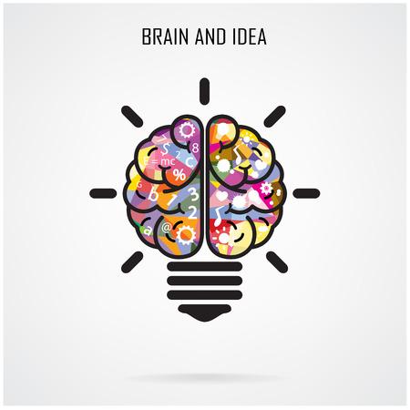 創造的な脳のアイデアと電球の概念  イラスト・ベクター素材