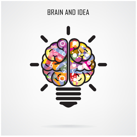 bulb light: Creative brain Idea and light bulb concept